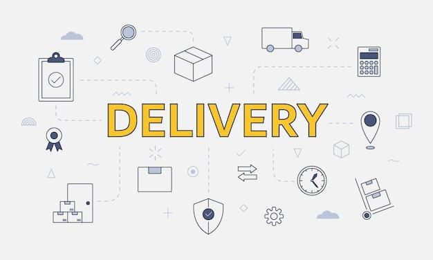 Concetto di trasporto logistico di consegna con set di icone con grandi parole o testo sull'illustrazione vettoriale centrale