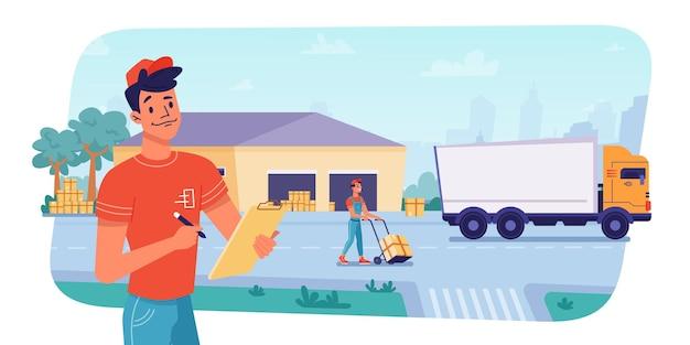Logistica di consegna a magazzino pacchi carico o scarico da parte dei lavoratori su camion di spedizione