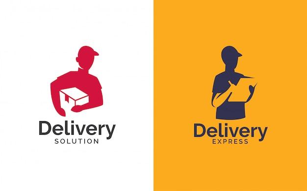 Consegna logo design Vettore Premium
