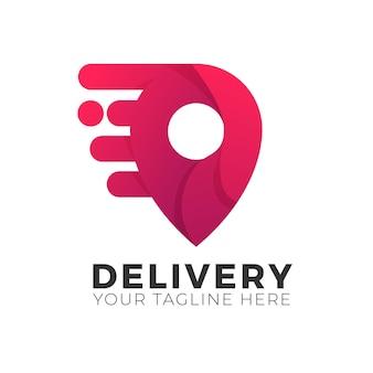 Modello di logo di consegna con effetto sfumato. concetto di gps pin veloce