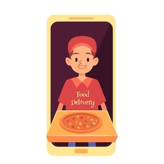 Uomo di consegna che appare dallo schermo del telefono e che tiene in stile cartone animato scatola di pizza