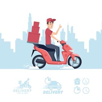 Cartone animato uomo di consegna. uomo di consegna su scooter e icone piatte isolati su sfondo bianco