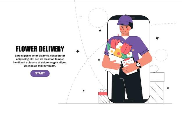 Uomo di consegna il corriere nello schermo dello smartphone che tiene il mazzo di fiori dell'ordine per il cliente