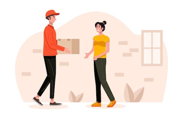 Uomo di consegna che tratta la scatola del pacchetto del pacco all'illustrazione del cliente Vettore Premium