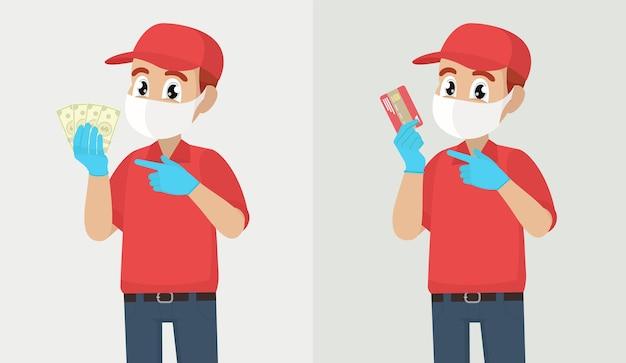 Uomo di consegna che tiene pacchetto di dollari o carta di credito uomo di consegna o corriere ragazzo in maschera medica di sicurezza
