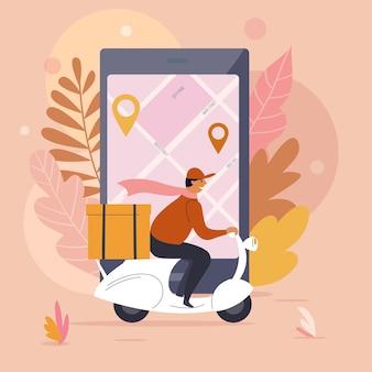 Uomo di consegna, ordina l'illustrazione del concetto online di cibo, disegno vettoriale piatto