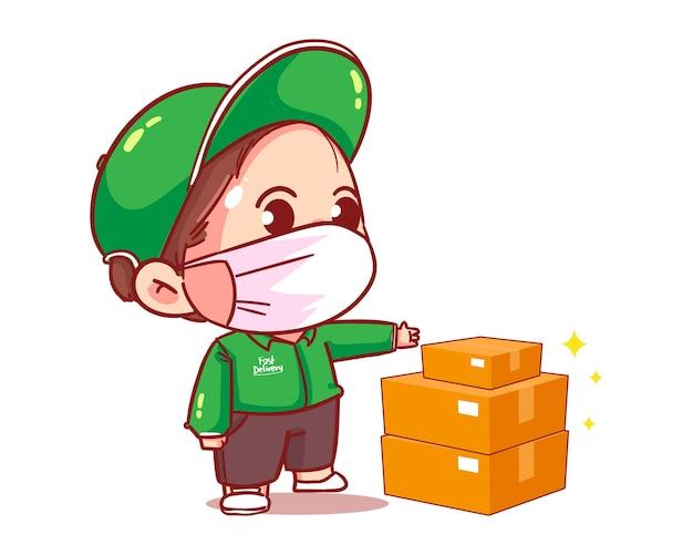 Consegna del pacco del fattorino al cliente, illustrazione di arte del fumetto