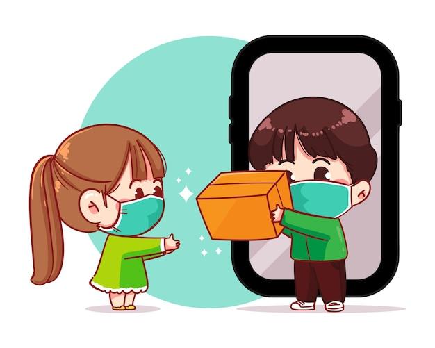 Consegna del pacco del fattorino al servizio di consegna online del cliente, illustrazione di arte del fumetto dello smartphone
