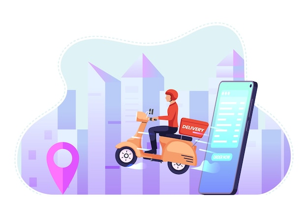 Il fattorino guida la moto esce dallo smartphone. concetto di servizio di consegna di cibo e merci.