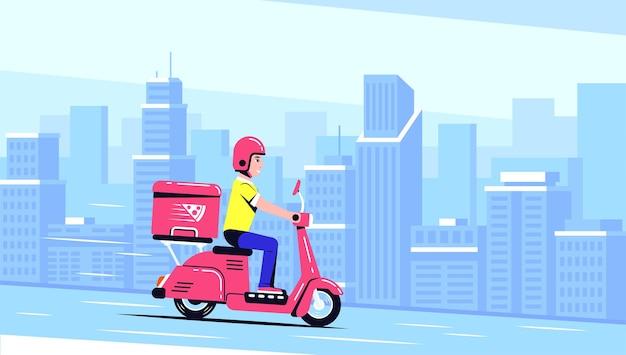Delivery man ride scooter moto con una scatola. concetto di servizio di consegna cibo. illustrazione di stile piatto.