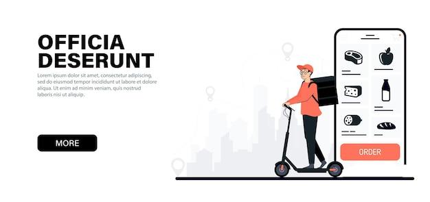 Fattorino in sella a uno scooter elettrico corriere che consegna cibo