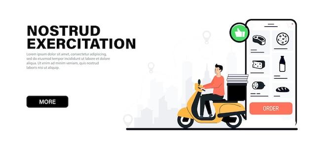 Uomo delle consegne in sella a uno scooter corriere su uno scooter che consegna cibo e pizza