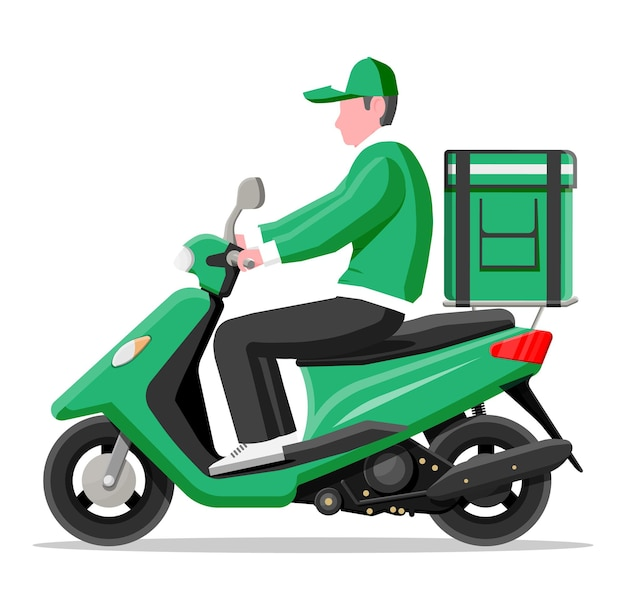 Uomo di consegna in sella a moto scooter con la scatola. concetto di consegna veloce in città. corriere maschio con cassetta dei pacchi sulla schiena con merci, cibo e prodotti. cartoon piatto illustrazione vettoriale cartoon