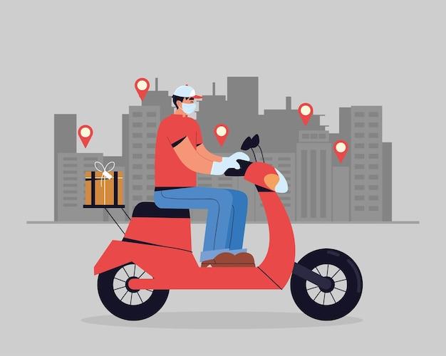 Uomo di consegna in sella a una moto con indicatori di destinazione in città