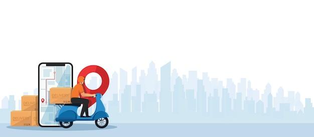 Uomo di consegna in sella a una motocicletta in scooter concetto di servizio di consegna