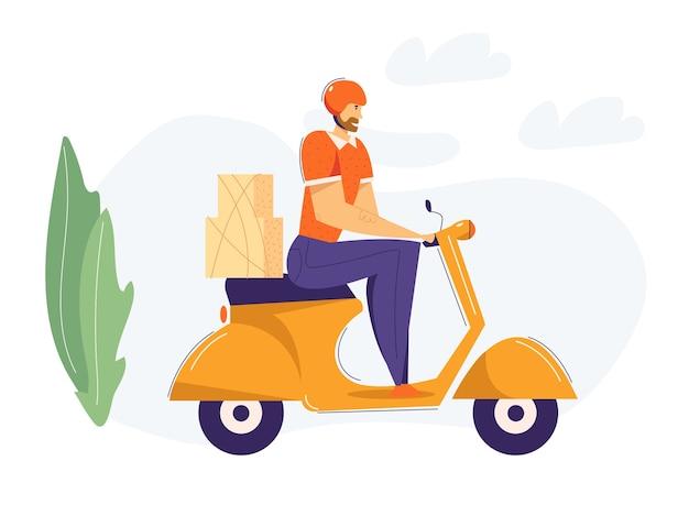 Uomo di consegna in sella a scooter con pacchetto. concetto di servizio di spedizione consegna veloce con personaggio maschile sulla moto.