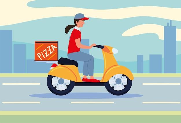 Uomo delle consegne in sella a uno scooter