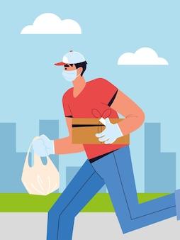 Uomo di consegna in esecuzione con il pacchetto Vettore Premium