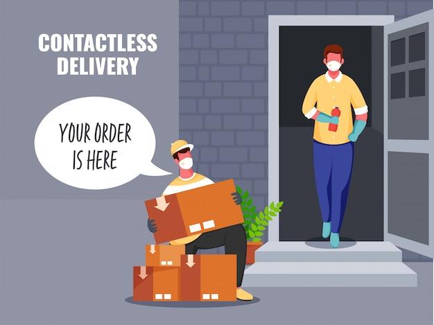Uomo di consegna che dice che il tuo ordine è qui con scatole di pacchi per il cliente senza contatto alla porta durante la pandemia di coronavirus.