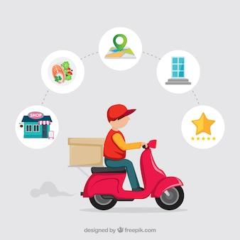 Uomo di consegna su scooter con disegno piatto Vettore Premium