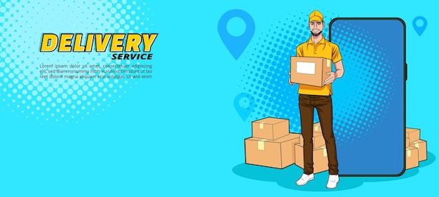 Servizio di fattorino con consegna veloce acquista prodotto dal cellulare pop art comic style