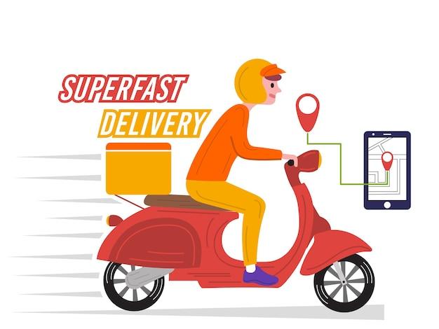 Fattorino che viaggia veloce per consegnare il cibo in scooter
