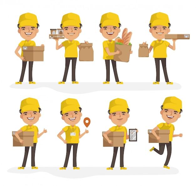 Insieme di vettore del fattorino. scatola o prodotto per l'uniforme del fattorino. postura di piena posizione e tenuta o puntamento.