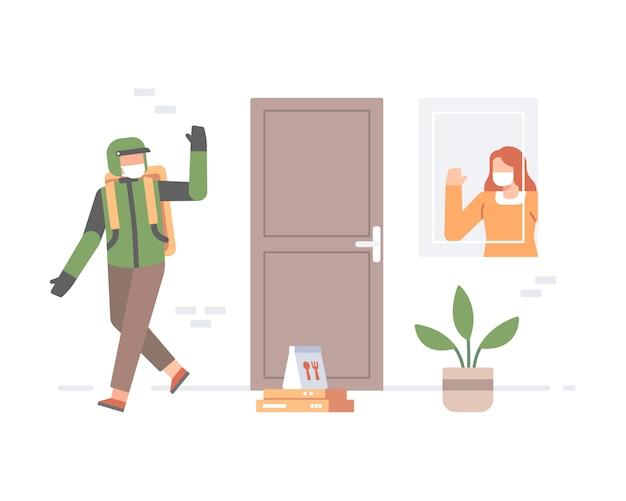 Un fattorino che indossa una maschera o un autista di trasporto online che consegna un alimento all'illustrazione della casa del cliente