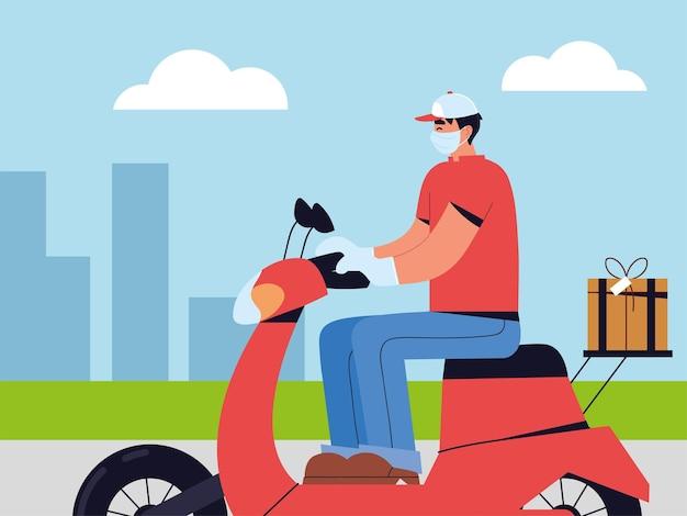 Uomo di consegna che indossa la maschera facciale in sella a uno scooter in strada