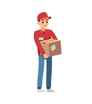 Uomo di consegna con scatola. giovane corriere con cappello rosso e uniforme in piedi, personaggio dei cartoni animati di servizio