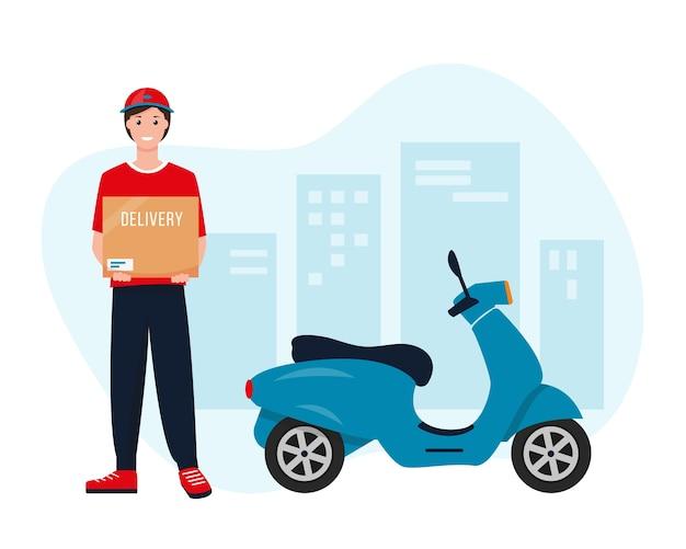 Uomo di consegna con scatola di cartone vicino al motorino blu
