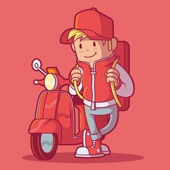 Fattorino con il suo scooter
