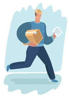 Uomo di consegna con pacco. trasporto veloce. carattere su sfondo bianco. postino, corriere con pacco. concetto di shopping online e spostamento.