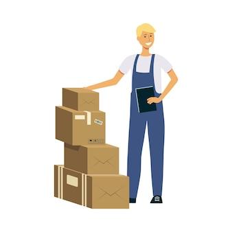 Uomo di consegna con una pila di scatole