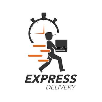 Uomo di consegna con l'icona del cronometro per servizio, ordine, spedizione veloce, gratuita e in tutto il mondo