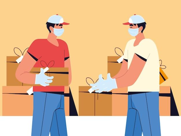 Scatole di lavoro logistico di uomini di consegna
