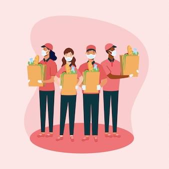 Uomini e donne di consegna con maschere e borse design