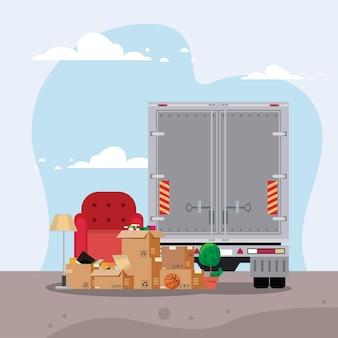 Consegna trasloco scatole sedia e camion