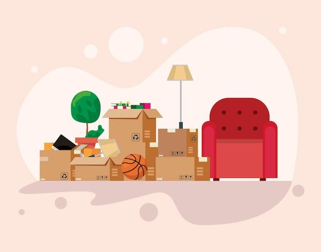 Consegna trasloco scatole e sedia