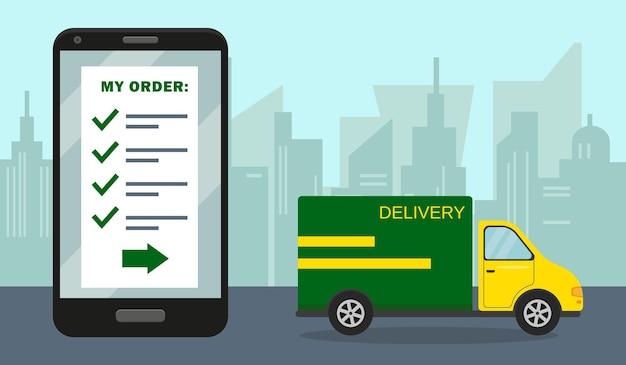 Consegna e concetto di ordine online.
