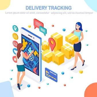 Tracciamento online della consegna tramite app per cellulare. smartphone isometrico con pacco, persone