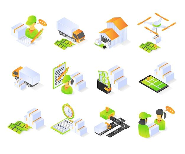 Icona dell'ordine di consegna con set vettoriale moderno premium di concetto di stile isometrico