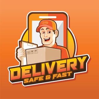 Mascotte di ordine di consegna con il logo di smartphone