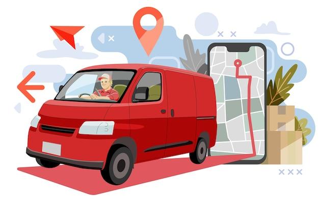 Concetto di pacchetto di consegna. consegna di furgoni tramite mappa o gps. e illustrazione,