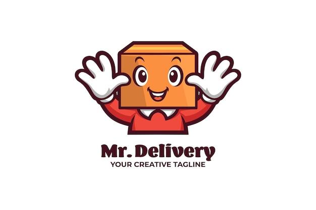 Pacchetto di consegna logo del personaggio mascotte di spedizione