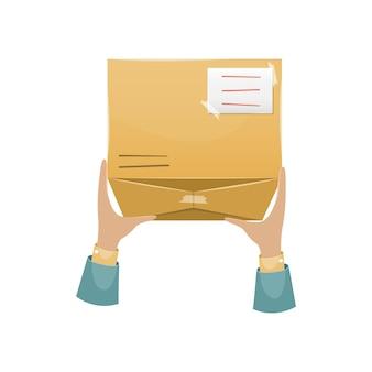 Consegna del pacco da parte del postino al destinatario a casa