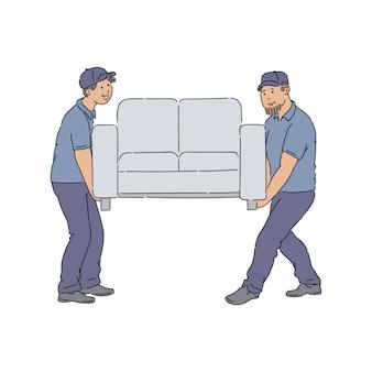 Addetti alle consegne che spostano un divano, giovani uomini di servizio in divisa che consegnano un nuovo divano a casa