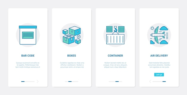 Servizio postale di consegna, ux di spedizione merci, schermata della pagina dell'app mobile di onboarding dell'interfaccia utente