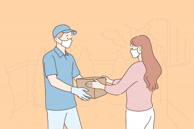 Consegna, quarantena, covid19, coronavirus, concetto di infezione.