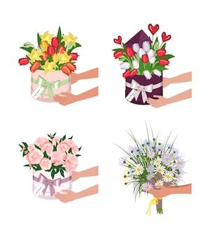 Consegna di una scatola rotonda con tulipani, narcisi e margherite. le mani tengono mazzi di fiori